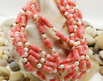 Natural Coral with Freshwater Pearl and Garnet necklace