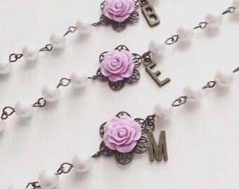 Bridesmaids Bracelet, Personalized Bracelet, Flower Bracelet, Monogram Bracelet, Flower Girl Bracelet, Bridesmaid Bracelet, Wedding Gifts