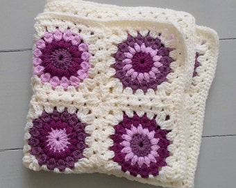 RTS Granny squares crochet layering baby blanket in cream and purples/ handmade posing blanket photo prop