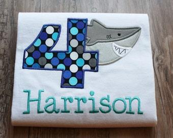 shark birthday shirt, shark shirt, shark shirt with birthday number, personalized shark birthday shirt, custom embroidered shark shirt, boy