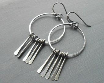 Silver Fringe Earrings, Oxidized Sterling Silver Dangle Earrings