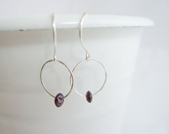 Sale! 15 % off, Fine Silver Hoop, Small Hoops, Lightweight Everyday Earrings Sundance Style, Garnet Birthstone, Boho Jewel, Petite earrings