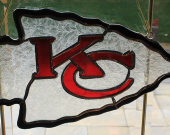 Stained glass KC Chiefs suncatcher wall hanging