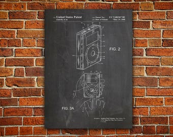 MP3 Player Patent Canvas painting,MP3 Player Poster, iPod Blueprint, iPod Wall Decor, iPod Print, Technology Wall Art, Geek Wall Decor