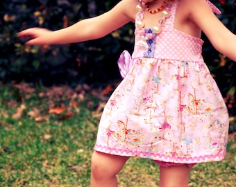 Carousel Dress, Pink Carousel Dress, Carousel Birthday Dress, Carousel Dress Pink, Ellie Halter Top Dress, Carousel Boutique