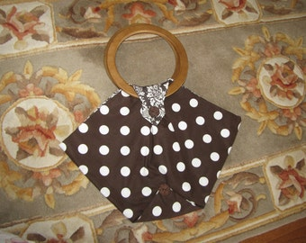 Brown Bag with White Polka Dots, wooden handle, lined