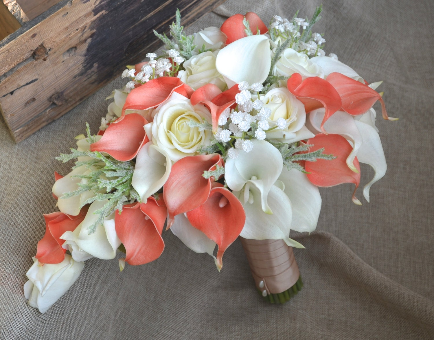 Cascade bridal bouquet coral ivory real touch flowers calla zoom izmirmasajfo Choice Image