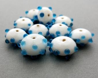 White, Blue Polka Dot Lampwork Glass Beads | Set of 10 Beads