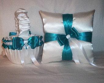 White Satin With Teal  Ribbon Trim Flower Girl Basket And Ring Bearer Pillow Set 1