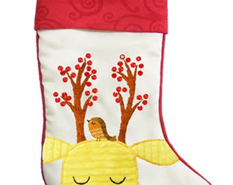 Personalised Christmas Stocking, White with yellow reindeer