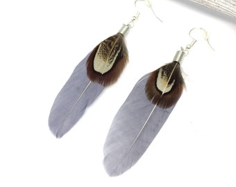 Earrings Boho/Ibiza style silver plated with long grey feather