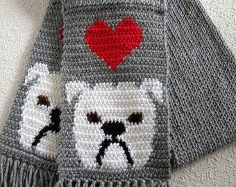 Knit Bulldog Scarf.  Gray knitted scarf with white English bulldogs and red hearts. Bulldog gift