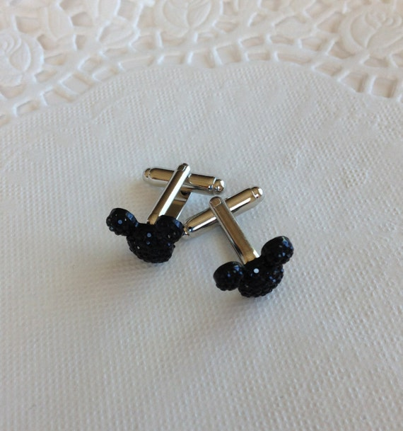 MOUSE EARS Cufflinks for Wedding Party in Dazzling Black Acrylic Gift Box Included