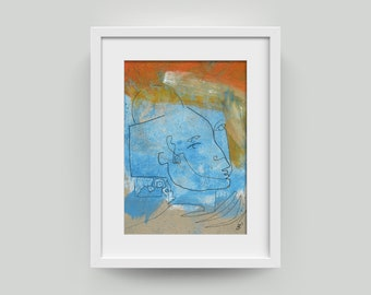 Picture din A5 blue-orange Painting & black Line-Drawing on chipboard