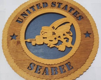 Seabee Wall Plaque Wooden Model