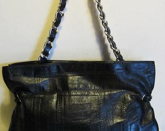 Splendid leather handbag, shoulder bag; black, Coccinelle, Italy