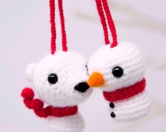 Crochet Christmas Tree Polar Bear and Snowman Decorations