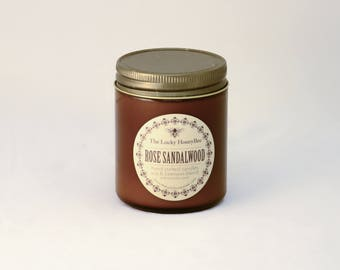 Rose Sandalwood Candle || 8.5 oz Scented Candle || Soy + Beeswax Blend Candle in Amber Jar