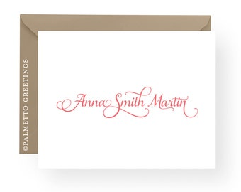 PRINTED - Folded Personalized Notecards - Set of 8