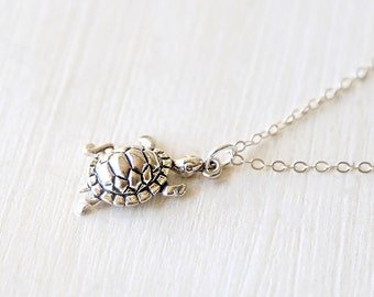 The Tiny Turtle - An Everyday Simple Sterling Silver Pendant Necklace