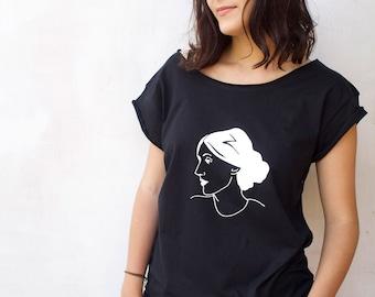 Virginia Woolf  T-shirt   Black Boyfriend T-shirt womanT shirt Literary Tshirt