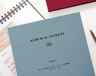 Fabric Cover Ticket Collection Album - 50 Pages (100 Tickets) - 4 Colors by Choice