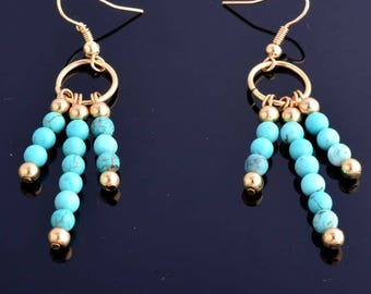 turquoise and gold gold filled hook earrings