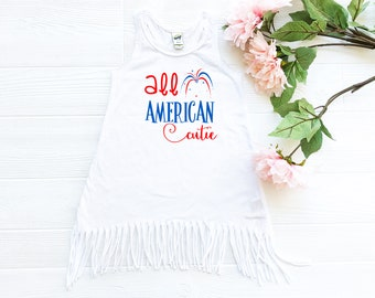 4th of July Dress - Boho Fringe Dress - July 4th Dress for Girls - Independence Day Dress  -  Fourth of July Dress - All American Cutie