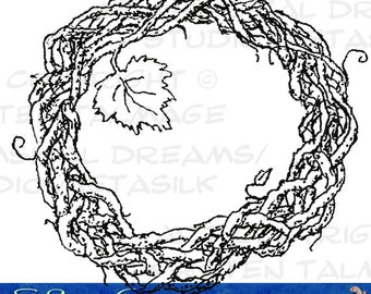 Grapevine - colorable / digital stamp for cards, scrapbooks, gifts, tags, needlework (Ink line art by Kir Talmage)