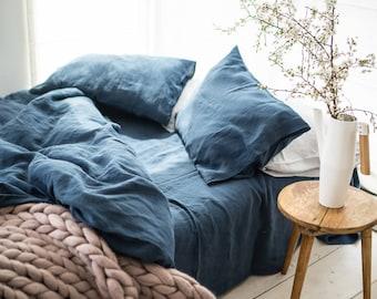 Linen Duvet Cover, stonewashed linen, softened linen bedding, duvet cover linen, dark blue