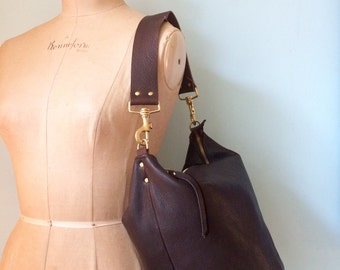 Brown leather bucket bag, dark brown bucket handbag, brown handbag