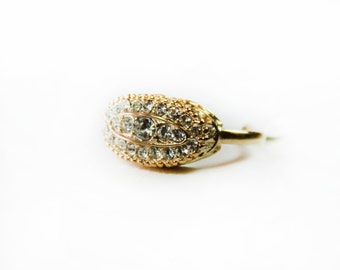 Vintage Pave Ring set with Clear Swarovski Crystals 18k Yellow Gold Electroplated Handcrafted Made in USA  #R123