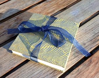 Mini accordion photo album - square brag book - palm leaf pattern blue and yellow