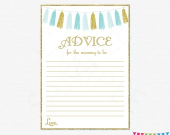 Blue and Gold Baby Shower Advice Cards, Advice for Mommy to be, Mommy Advice Cards, Baby Shower Sign, Boy Baby Shower Printables, TASBG