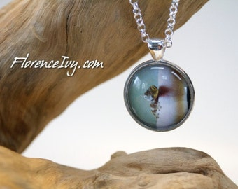 Tiny Baby Crested Gecko Art Photo Pendant With Chain Handmade Jewelry Necklace Silver Charm Cabochon Reptile Lizard Exotic Pet Lover Gift