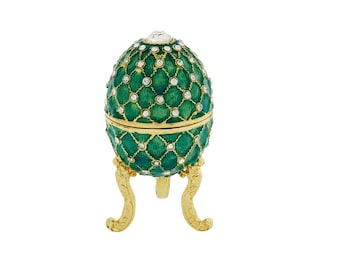 Green Diamante Faberge Style Egg Trinket Box, Decorated Egg Collectable Ornament - 6cm
