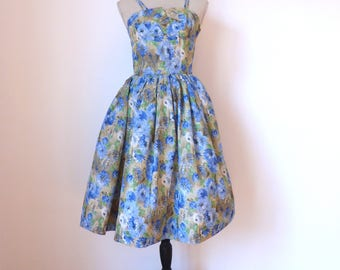 STUNNING Vintage French Two Piece Outfit, Dress and Matching Short Jacket, Wedding Outfit, 50s Dress, Floral Dress, Vintage Dress