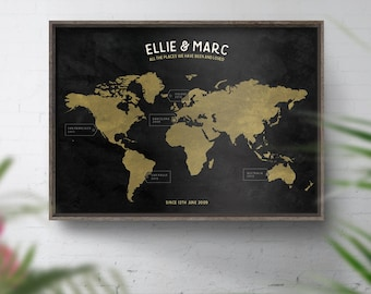 Personalised world map travel map custom world map print personalised travel map chalkboard effect places weve been anniversary gift gumiabroncs Choice Image