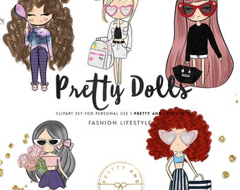 Fashion Lifestyle Pretty Dolls, Planner Stickers, Fashion Girls, Clip Art, Illustration, Planner Clip Art, Glam Planner, Fashionist Dolls