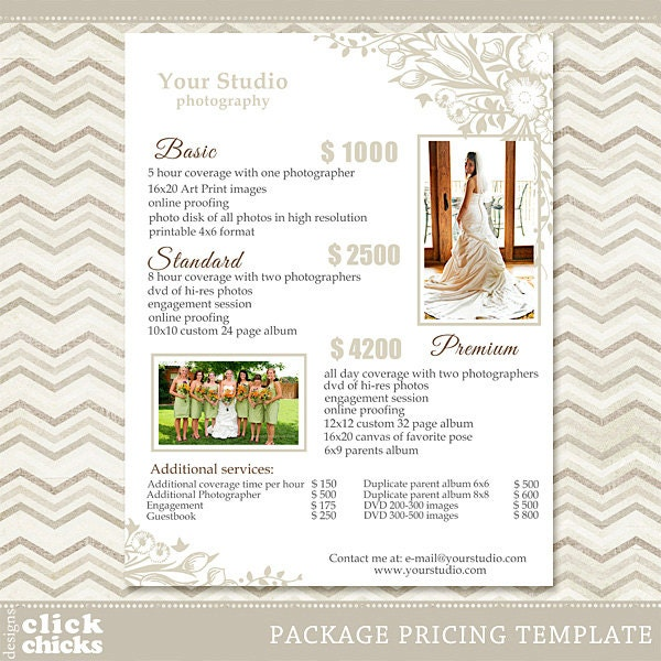 Wedding Photography Pricelist: Photography Package Pricing List Template Wedding Packages