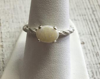 Australian Opal Ring. Size 6.25. Sterling Silver
