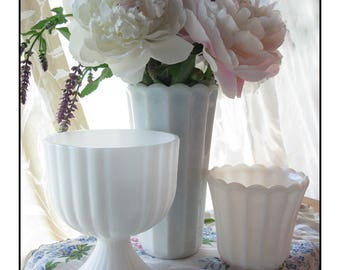 Vintage Milk Glass Vase Collection - Shabby Sweet Trio
