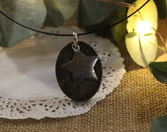 Original necklace in silver with star concrete