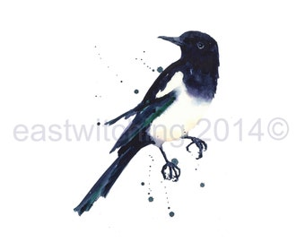 MAGPIE Watercolor Print, magpie, magpie painting, magpie print