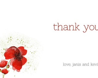 Personalized | Thank You | Red | Poppy | Poppies | Digital Artwork