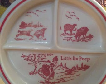 Fireking divided childs little bo peep dish plate EUC