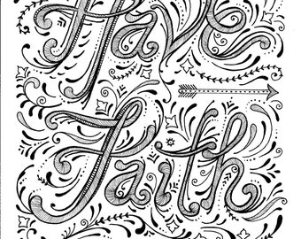 Instant Download Faith Coloring Page