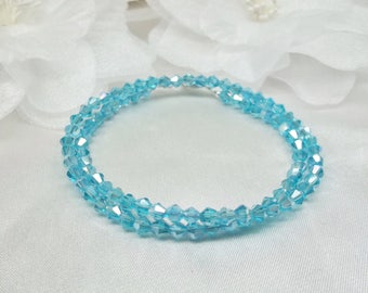 Aquamarine Bracelet March Birthstone Bracelet Blue Crystal Bracelet Double Wrap Bracelet Light Blue Bracelet Sterling Silver BuyAny3+1 Free
