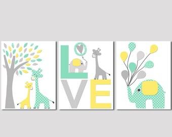 Mint and yellow elephant and giraffe nursery art, LOVE Art Print Set, Kids Room Decor, Baby/Children Wall Art - Giraffe, elephant, balloons