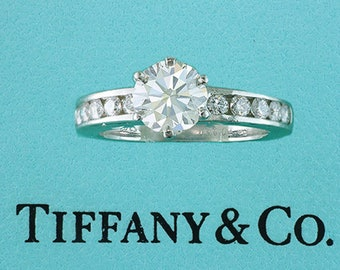 Tiffany & Co. GIA Certified 1.41ct H-VS2-Ideal Diamond Platinum Engagement Ring